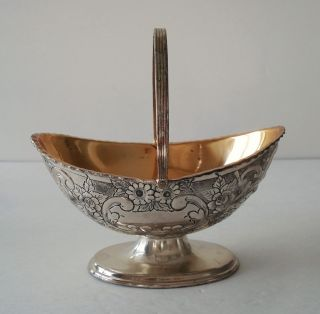 Epm Antique Silver Plate Flower Embossed Candy/nut Footed Basket Bowl photo