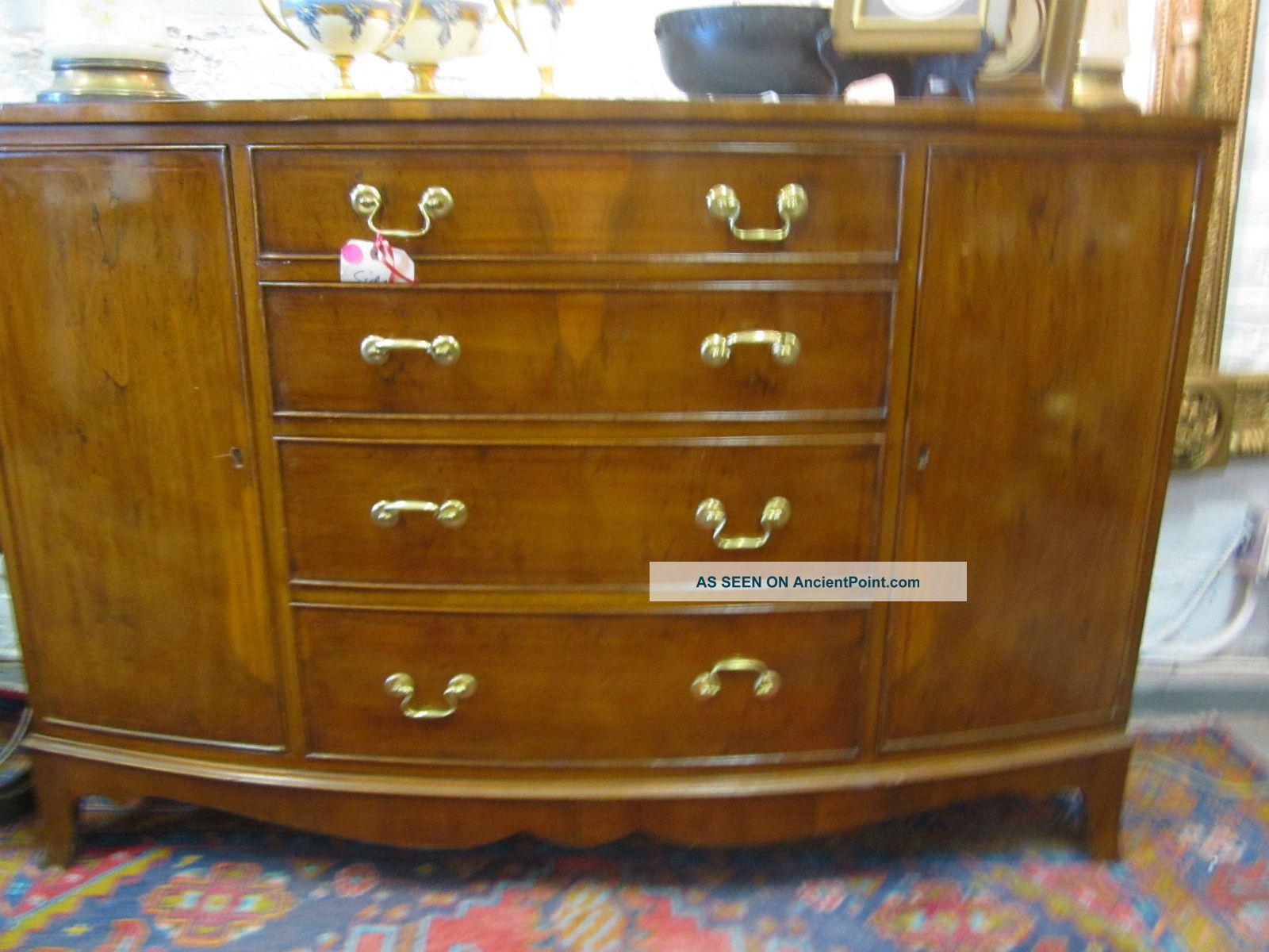 Vintage Fine Furniture Demilune Side Board Buffet Liquor Cabinet Silver Drawer 1900-1950 photo