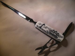 Scrimshaw Letter Opener Knife Side Ship - Lighthouse photo