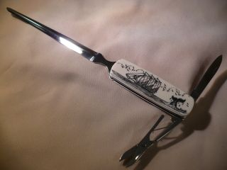Scrimshaw Letter Opener Knife Schooner - Whale Tail photo