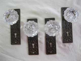 Antique Brand Nos Crystal Glass Doorknobs & Brass Eastlake Faceplates - Twin Set photo