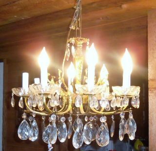 Chrystal & Brass Chandelier With Huge Prisms Mod Style Dep Style Art Stile photo