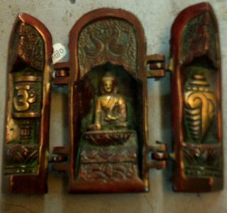Grand Buddha Temple Folding Brass India God Story Life Cycle Lord Tibet Vintage photo
