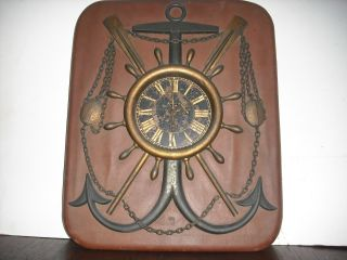 Antique Nautical Wall Clock Anchor Ships Wheel Oars photo