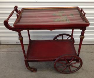 Antique Wood Tea Cart - Paalman (?) - W/removable Tray Oriental Motif photo