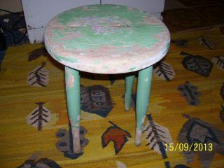 Primitive/antique Stool,  4 Legs,  Handmade,  Old Milk Paint,  Hand Turned Legs photo