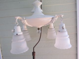 Vintage Brass Pan Chandelier Hanging Light Fixture 4 Globes Chippy White Paint photo