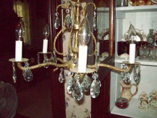 Vtg.  Spanish Brass Chandelier Wglass Crystals/ Prisims - Great Working Condition photo
