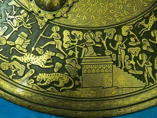 Very Rare Mughal Shield Dhal Gold Koftgari Work No Wootz Shamshir Katar Antique photo