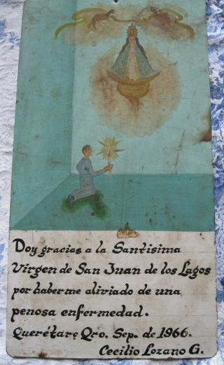 1966 Exvoto On Tin Man Thanking Our Lady Of San Juan For Healing photo