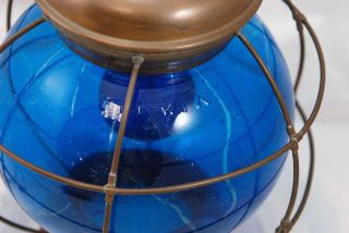 Antique Nautical Marine Perkins Blue Globe Ship Kerosene Lamp Lantern Converted photo
