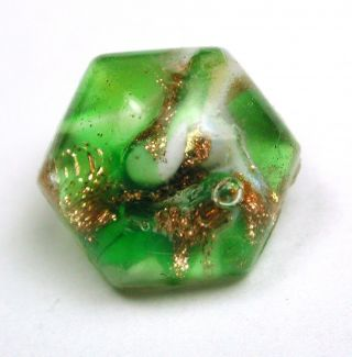 Antique Leo Popper Glass Button Green & Gold Hexagon Paperweight photo