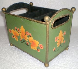 Vintage Hand Crafted Iron Floral Painted Stationery Letter/paper/envelope Box photo