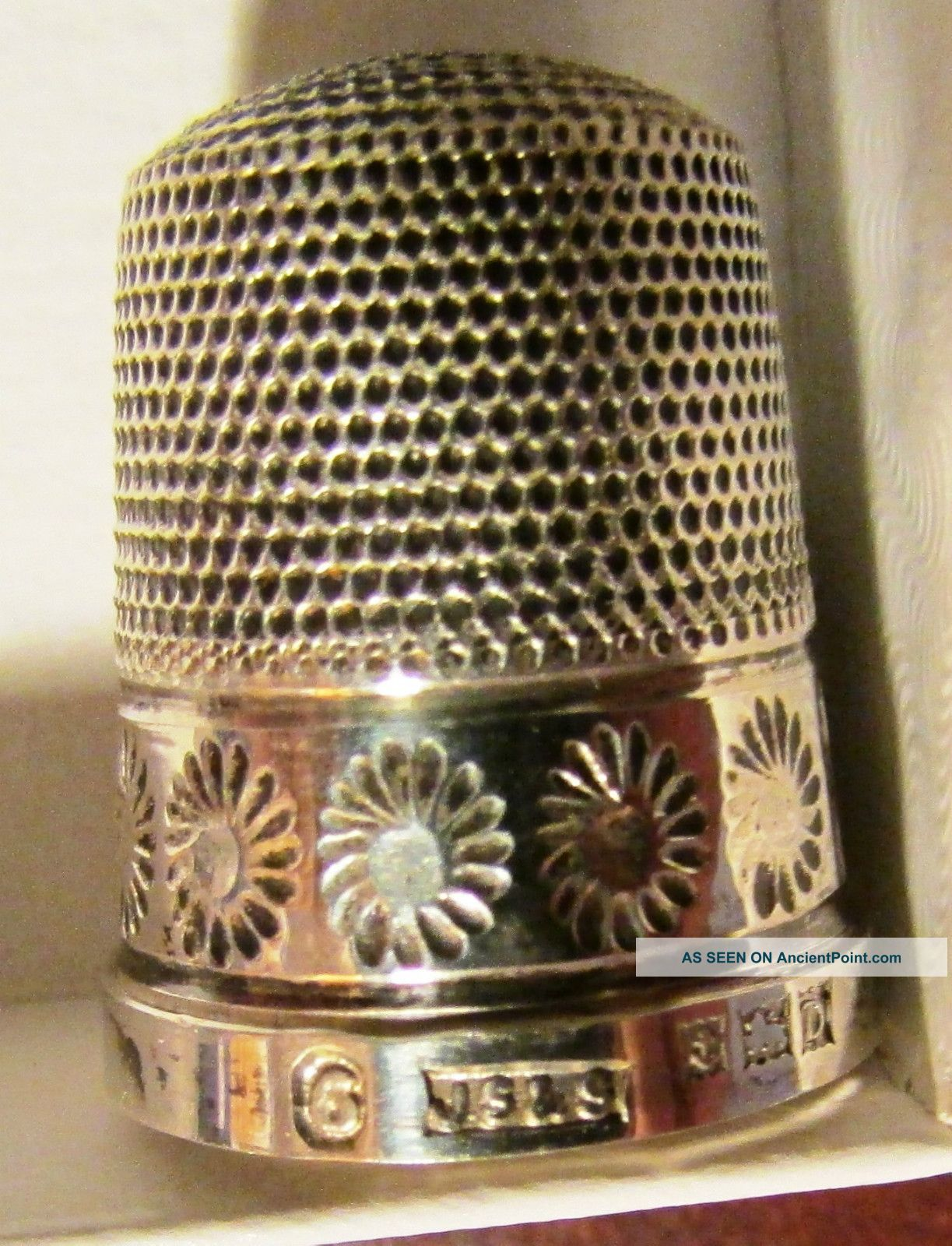 Sterling Silver Sewing Thimble James Swann & Sons Birmingham England Decorative Thimbles photo