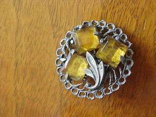 Unique Antique Rare Victorian Glass Jewel Metal/pewter Button /prong Set Stone photo