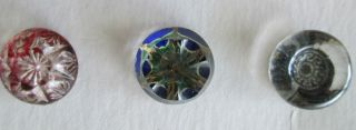 3 Different Antique Glass Kaleidoscope Buttons photo