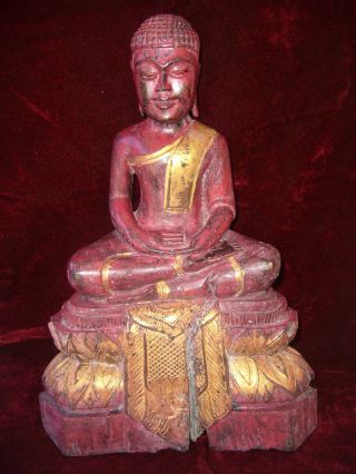 Antique 15 - 16th C Chinese Hand Carved Zitan Wood Statue Buddha photo