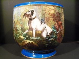 Rare Antique Sevres Porcelain Jardinière Wonderfully Hand Painted Hunting Scene photo