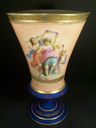 Antique Old Paris Porcelain Hand Painted Vase Of Mythological Scene photo