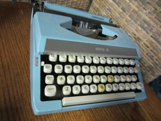 Antique Light Baby Blue Royal Companion Typewriter Mid Century Mod 60s Vtg Deco photo