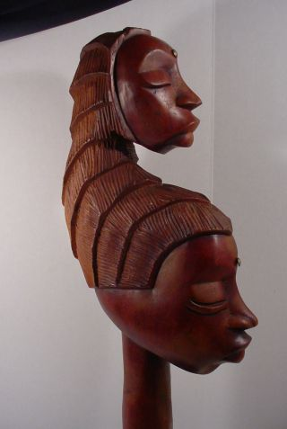 Large Double Head Or Head Dress African Wooden Statue photo
