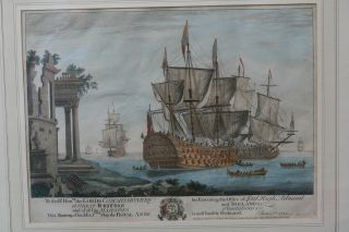 Orig.  Early 18th C.  Maritime Engraving Of Ship: Royal Anne By Thomas Baston C1721 photo