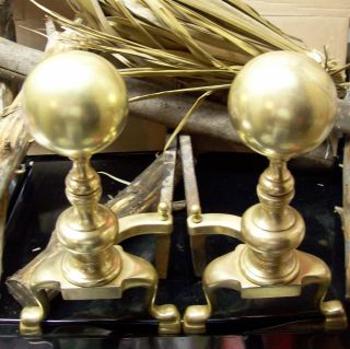 Antique Solid Brass Ball Top Sheffield Andirons - Vintage - Ny,  Usa Forged & Crafted photo