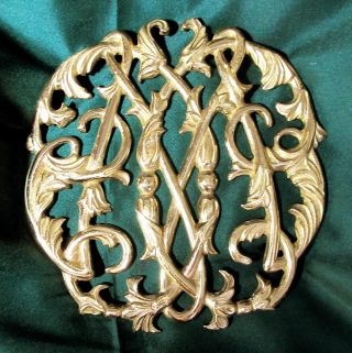 Virginia Metalcrafters Brass Cypher Trivet Colonial Williamsburg 1950© Cw10 - 4 photo