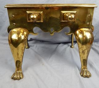 Huge Brass Paw Footed Fireplace Trivit Mid To Early 19th Century English? photo