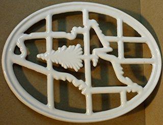 Vintage Porcelain Cast Iron Trivet.  State Of Maine.  Portland Stove Foundry.  Old photo
