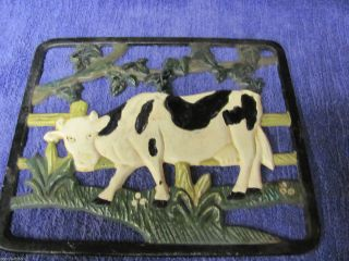 Vintage French Farm Trivet - Painted - Cast Iron - photo
