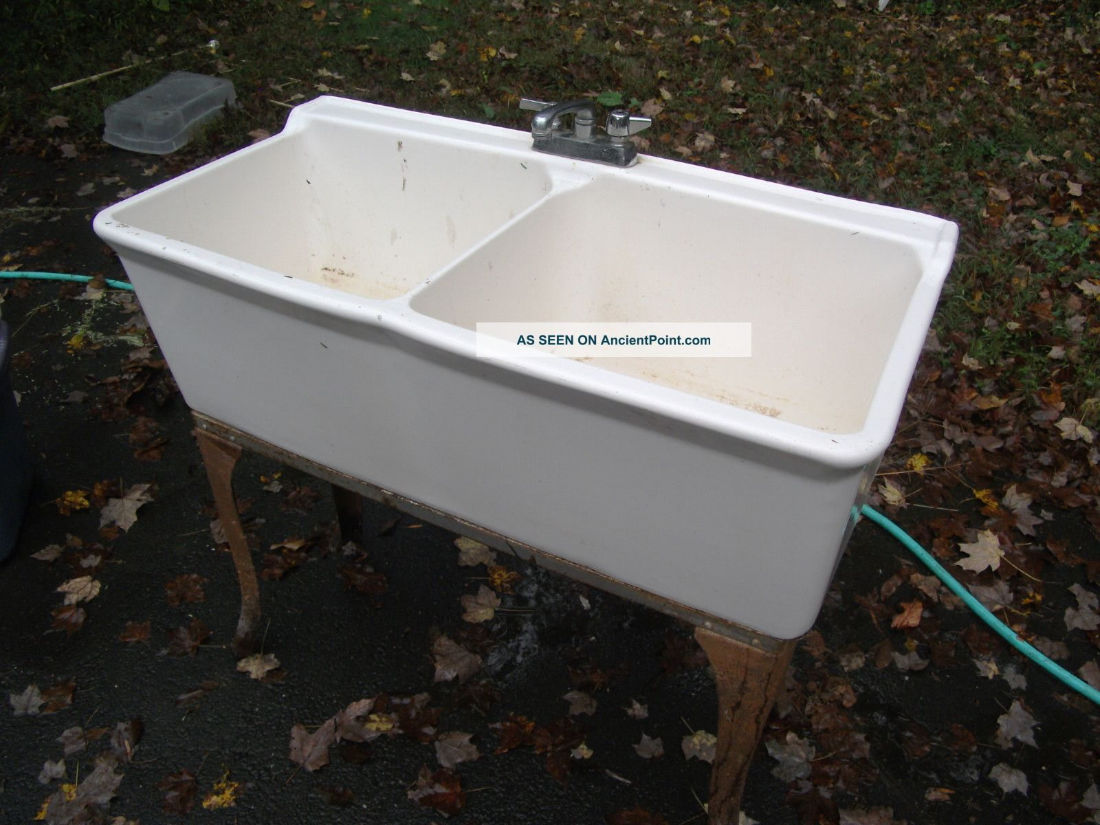 Utility Sink Porcelain : Vintage Porcelain Farm Sink Or Utility Sink, Metal Base W/ Legs ...