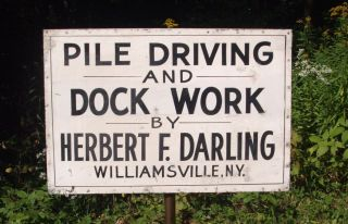 Vintage Tin Great Lakes Sign Pile Driving & Dock Work H Darling Ny Wharf Boat photo