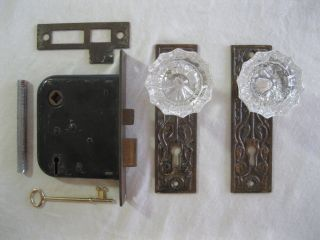 Antique Brand Nos Glass Doorknobs W/brass Eastlake Faceplates & Working Lock photo