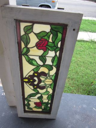 Vintage Roses Stained Glass Window,  36 Inches Long; 14 Inches Wide,  Plexiglass photo