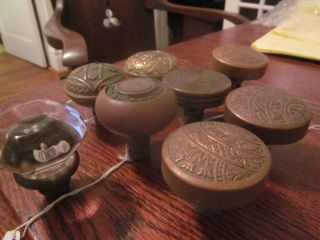 8 Various Bronze,  Copper And Glass Doorknobs,  Most In photo