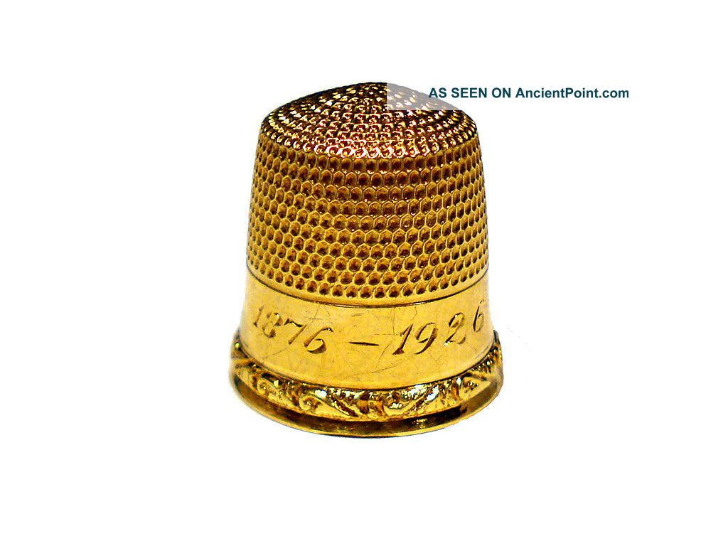 Goldsmith Stern & Company Solid 10k Gold Thimble Engraved 1876 - 1926 Thimbles photo