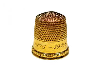 Goldsmith Stern & Company Solid 10k Gold Thimble Engraved 1876 - 1926 photo