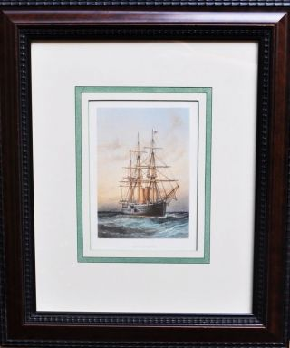 Framed Antique C.  1890 Chromolithograph H.  M.  S.  Alexandra photo