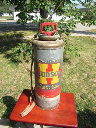 Vintage Hudson Sprayer Duster Pump Can Strap Brass Nozzle Galvanized Metal photo