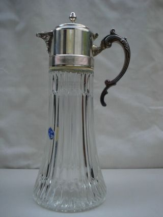 Vintage Glass Jug/tankard/pitcher W/silverplate Top By Rogers,  Italy 14 1/2 Tall photo