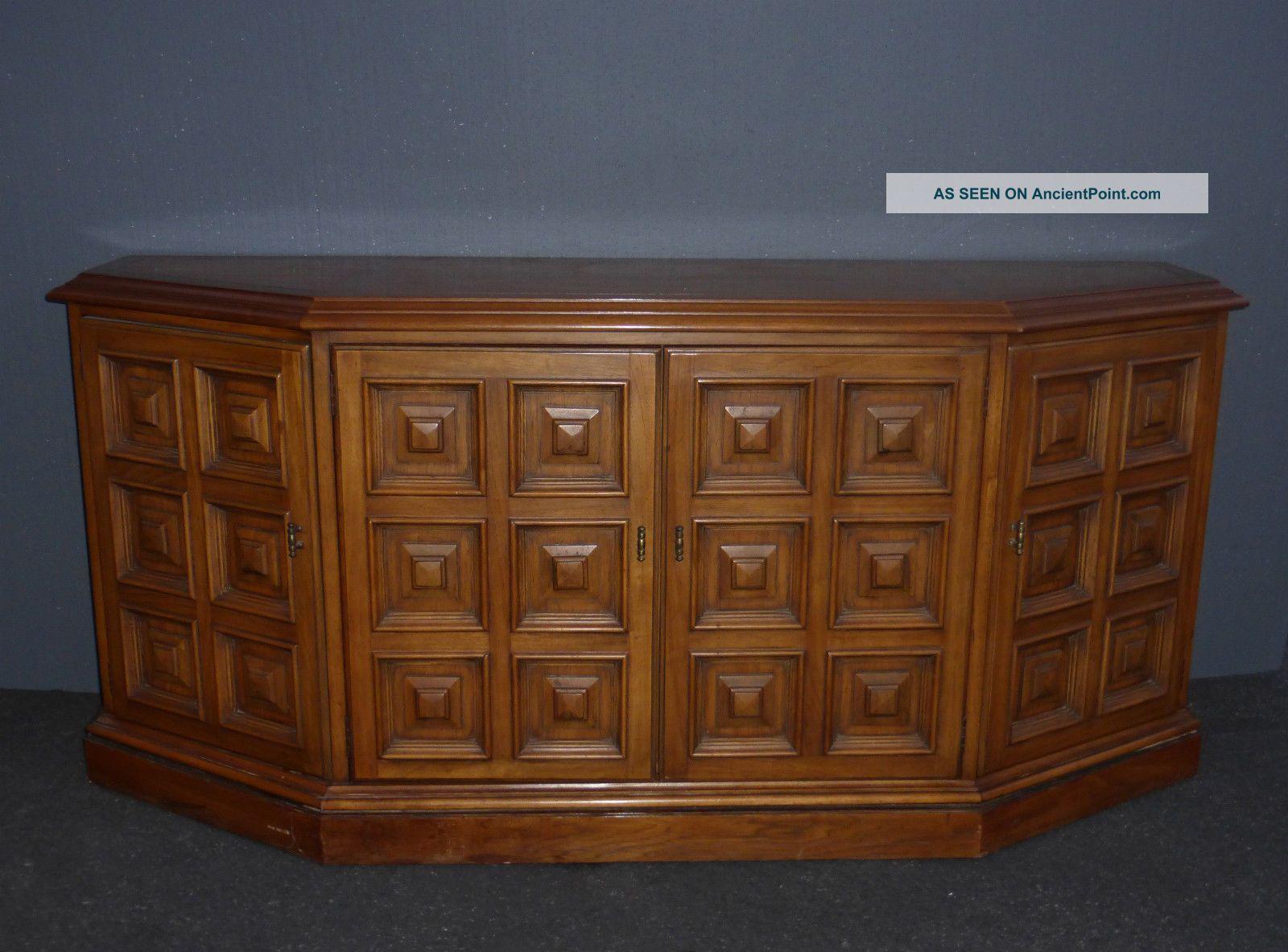 Vintage Drexel Mid Century Solid Wood Ornate Credenza Buffet Sideboard 1963