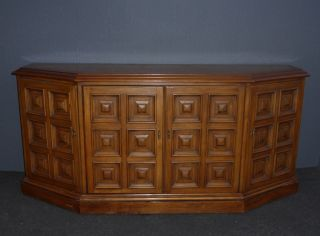 Vintage Drexel Mid Century Solid Wood Ornate Credenza Buffet Sideboard 1963 photo