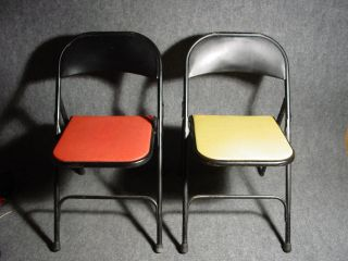 4 Mid Century Modern Samsonite Folding Chair Set Chairs Green Red Eames Era 50s photo