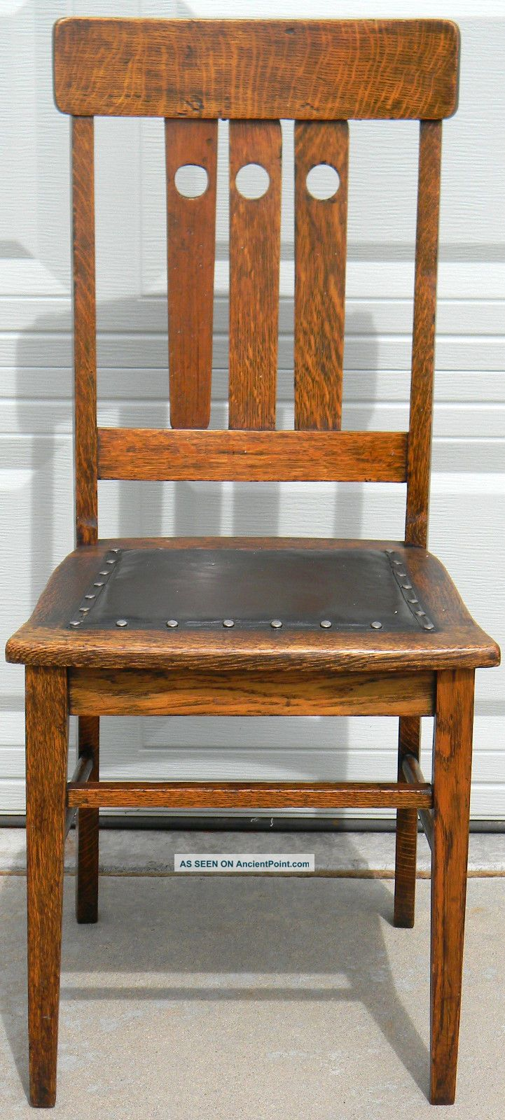 Antique Arts U0026 Crafts Mission Oak Chair With Leather Seat, 1 Of 3 Available  (a)