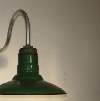 Pair Industrial Light Vintage Barn Porcelain Green Shade Gooseneck Gas Station photo