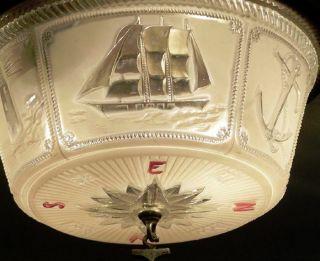 ((lightolier))  Old Vintage Ceiling Lamp Light Fixture Maritime Nautical photo