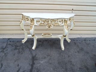 49775 Marble Top Open Carved Serpentine Paint Decorated Console Table photo