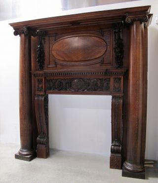 19th C.  Victorian Carved Oak Fireplace FaÇade From Old London Stock Exchange photo
