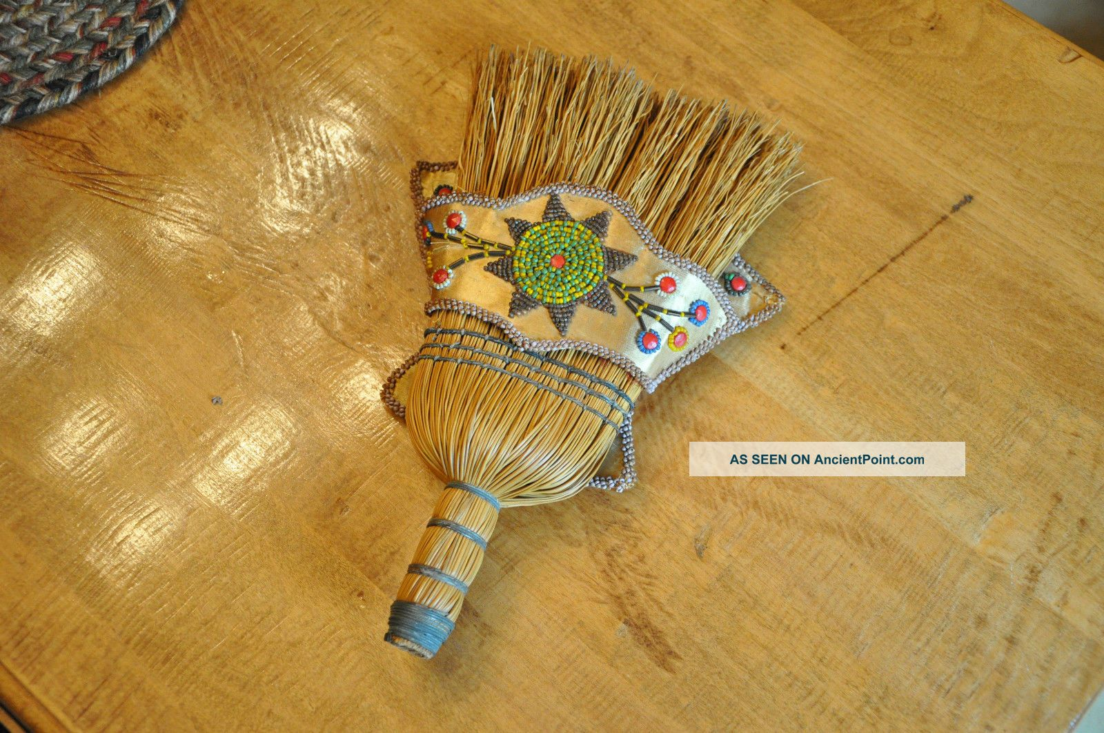Old Native American Beaded Whisk Broom Wall Pocket Whimsey W Butterfly Florals Native American photo